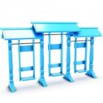 Blue plastic swing isolated on white background — Stock Photo #77554618