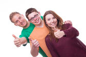 Three Friends with Tumbs Up — Stock Photo