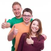 Three Friends with Tumbs Up OK — Stock Photo