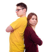 Misunderstandings two people stand back to back — Stock Photo