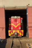 Historic train leaves the technical building — Stock Photo