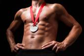 Sportsman with medal on his chest — Stock Photo