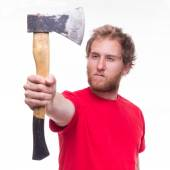Portrait of bearded lumberjack with an axe — Stock Photo