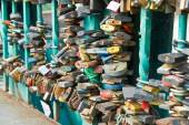 Lock of love on the bridge in city of Wroclaw — Stock Photo