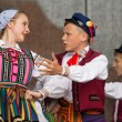 Folk dancers from city of Lowicz and traditional costumes, Polan — Stock Photo #59565579