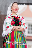 Folk dancers from city of Lowicz and traditional costumes, Polan — Stock Photo