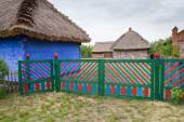 Old country cottage and flowers in Lowicz, Poland  — Foto Stock