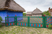Old country cottage and flowers in Lowicz, Poland  — Stockfoto