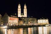 Zurich city at night in Switzerland   — Stock Photo