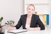 Dissatisfied employer woman during interview at office  — Stock Photo