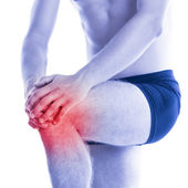 Man has knee pain and contussion — Stock Photo