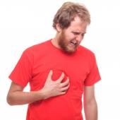 Bearded man has a heart attack — Stock Photo