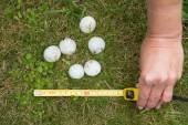 Hands full of hailstones after the hailstorm — Stock Photo