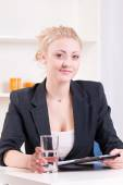 Pretty young woman at a job interview — Stock Photo