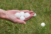 Hail on the grass after the storm — Stock Photo