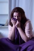 Woman has nightmares in bed — Stock Photo