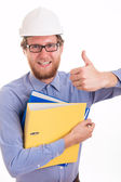 Happy young engineer showing ok sign — Stock Photo