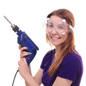 Young woman with  drill — Stock Photo
