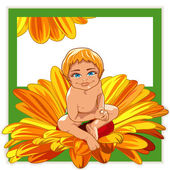Baby in a flower. — Stock Vector