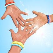 три руки на синий фон — Стоковое фото
