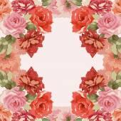 Postcard with luxury bouquet of peonies — Stock Vector