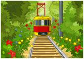 Tram in the park. — Stock Vector