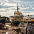 Rusty old boats on boatyard of Madalena-Pico-Azores — Stock Photo #55756789