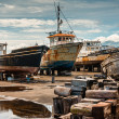 Rusty old boats on boatyard of Madalena-Pico-Azores — Stock Photo #55756803