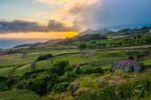 Oncoming afternoon rain at coast of Sao Jorge-Azores-Portugal. — Stock Photo