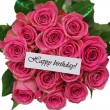 Happy birthday card with pink roses bouquet isolated on white — Stock Photo #55776277