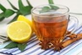 Tea, lemon, star anise and cinnamon — Stock fotografie