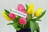 Good morning card with colorful tulips — Stock Photo