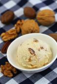 Pecan, walnut and caramel ice cream — Stok fotoğraf