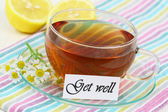 Get well card with fresh chamomile flowers — Stock Photo