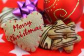 Merry Christmas card with Christmas sweets — Stock Photo