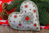 Heart with glitter and Christmas decorations — Stock Photo