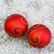 Red Christmas baubles — Stock Photo #58092851