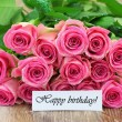 Happy birthday card with pink roses bouquet — Stock Photo #58097177