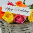 Happy Birthday card with colorful roses — Stock Photo #58142789