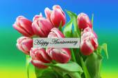 Happy Anniversary card with pink tulips — Stock Photo