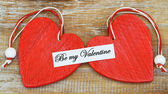 Be my Valentine card with two red hearts — Foto de Stock