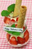 Happy Valentine's card with creamy strawberry dessert — Stock Photo