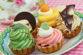 Selection of cream cakes — Stock Photo