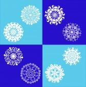Conjunto de copos de nieve blancas. — Vector de stock