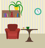 Modern room with chair and table, books shelf and plant. Flat st — Stock Vector