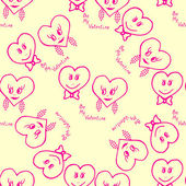 Seamless pattern. Hand-drawn hearts for valentines day. Vector illustration — Stock Vector
