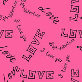 Hand-drawn pattern  with word  love . Vector — Stock Vector