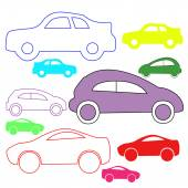 Isolated colored silhouettes cars. Vector illustration — Stock Vector
