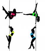 Four Pole dancers, sexy silhouettes.The vector illustration — Stock Vector