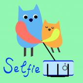Pets selfie. Funny animals on a colored background. Vector. Owls . Flat. — Stock Vector